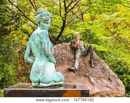 DUBLIN, IRELAND - NOVEMBER 06, 2013: Sculptures at Merrion Square near House of Oscar Wilde in Dublin, Ireland