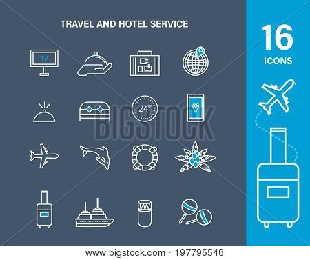 Set icons of travel and hotel service amenities, rent hotel number. Vacation, travel, trip. Icons hotel room. Modern vector illustration isolated.