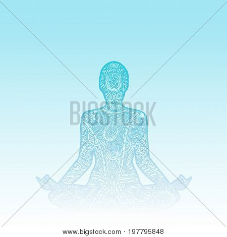 Yoga - Lotus pose. Man in meditation. Black and white doodle ornament.