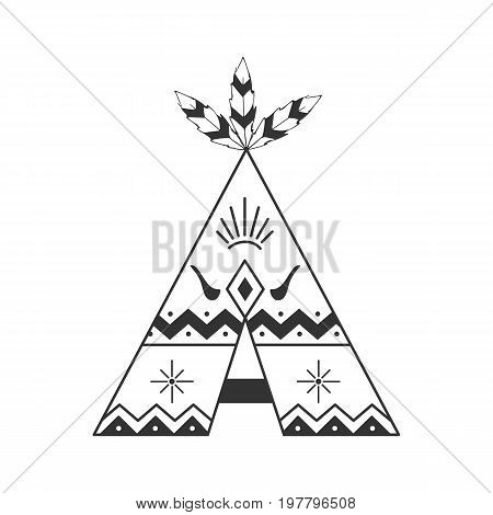 Cute Tipi Illustration Isolated On White With Feathers And Indian Ornaments. Vector Wigwam Boho Styl