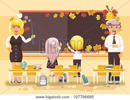 Stock vector illustration back to school cartoon characters schoolboy schoolgirl pupils apprentices teachers study in empty classroom stand at staple write on blackboard flat style autumn background.