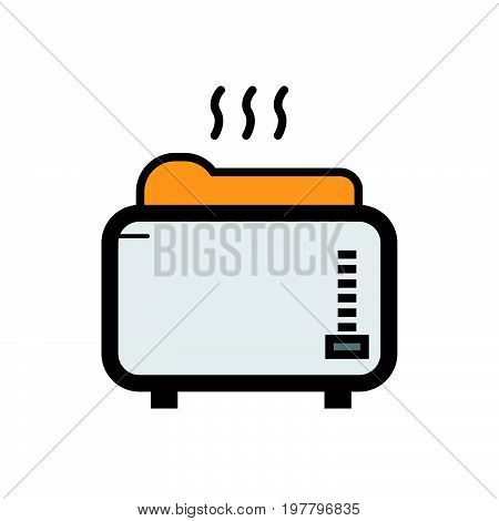 Simple flat color toaster machine icon vector