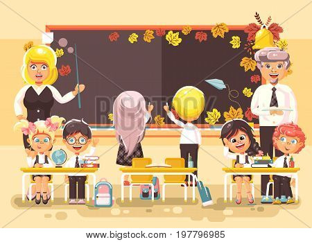 Stock vector illustration back to school cartoon characters schoolboy schoolgirl pupils apprentice teachers study in classroom sit at staple autumn background classmates write on blackboard flat style.