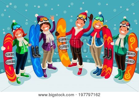 Winter sports active leisure isometric people cartoon characters ski and snowboard icons vector illustration