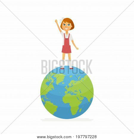 School contest winner - modern vector people character illustration of happy girl standing on Earth globe, holding hand up. Student represent online, international study, geography competition, contest