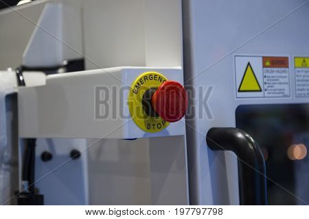 emergency stop button at an injection machine;Security push switch;shut down;For safety issue;selective focus
