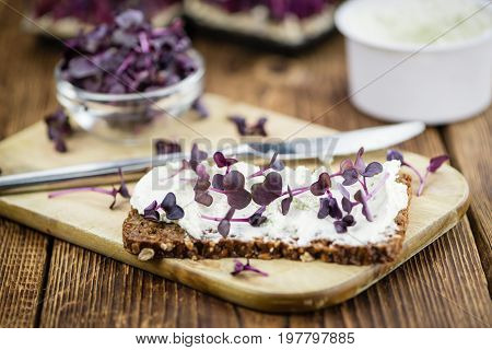 Fresh Cress With Creamy Cheese On A Slice Of Bread (selective Focus)