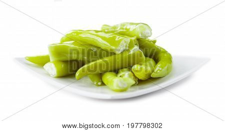 Stuffed Green Chilis Isolated On White