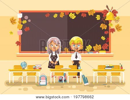 Stock vector illustration back to school cartoon two characters schoolboy and schoolgirl standing alone in empty classroom at staple with textbooks pupils near blackboard flat style autumn background.
