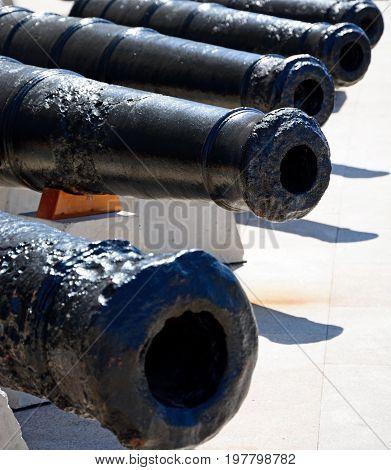 Row of cannons along the waterfront Vittoriosa (Birgu) Malta Europe.