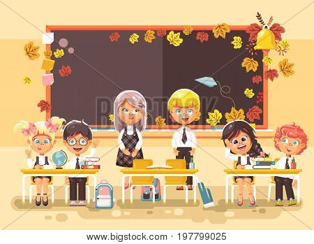 Stock vector illustration back to school cartoon characters schoolboy schoolgirl apprentices studying in classroom standing at staple with textbooks pupils near blackboard flat style background