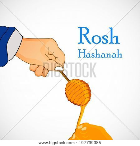 illustration of hand and honey with Rosh Hashanah text on the occasion of Jewish New Year Shanah Tovah. Translation: a good year
