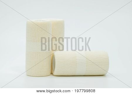 Medical cohesive elastic bandage isolated on white background