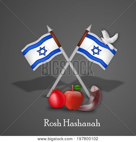 illustration of pigeon, apple, pomegranate, shofar and Israel flags with Rosh Hashanah text on the occasion of Jewish New Year Shanah Tovah. Translation: a good year