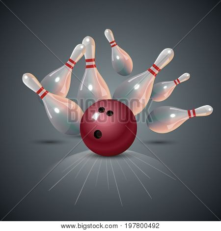Realistic bowling strike concept on dark gray background. Bowling concept. Bowling strike with ball. Vector illustration.