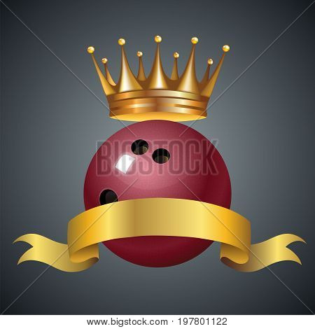Bowling king champion symbol with a golden crown on a red plastic bowling ball for bowlers representing the winning of a tournament or game at a bowling alley due to many strikes of the pins. Vector illustration.