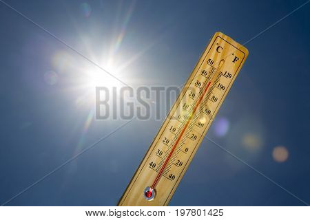 Mercury Thermometer Summer Heat Sun Light