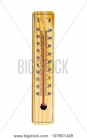 Mercury Thermometer Isolated On White