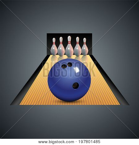Bowling club poster with ball and bowling pins. Vector bowling game center background template leisure.