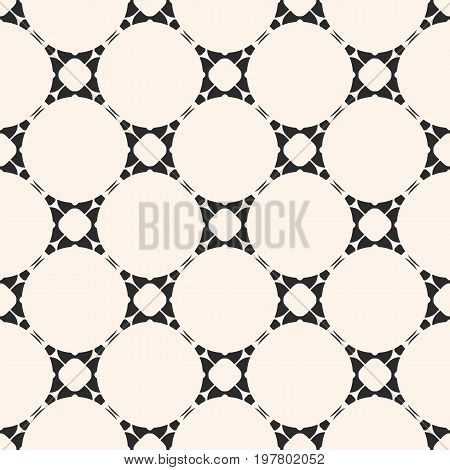 Vector geometric seamless pattern with delicate circular lattice. Simple abstract monochrome background. Repeat tiles. Elegant texture in oriental style. Design for decoration, textile, fabric, prints.