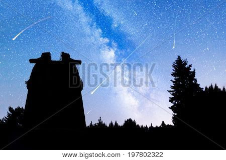 Pine Trees Silhouette Milky Way Observatory Falling Stars