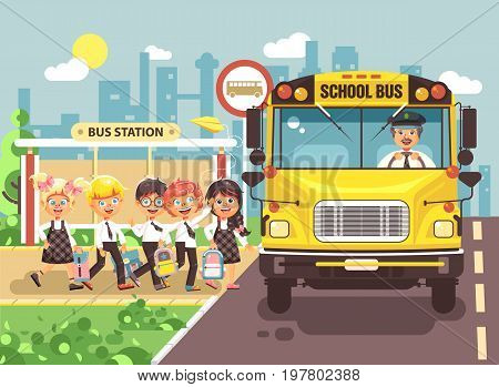 Stock vector illustration back to school cartoon characters schoolboy schoolgirls pupils apprentices cute cheerful children at bus stop go board school bus with driver on city background in flat style.