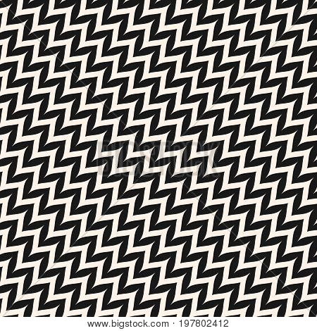 Chevron pattern. Diagonal curved wavy zig zag Lines. Vector seamless pattern. Simple modern abstract geometric background. Black & white striped texture. Popular design for decoration, fabric, prints. Zigzag pattern. Diagonal pattern.