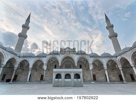 Istanbul, Turkey - April 19, 2017: Suleymaniye Mosque, an Ottoman imperial mosque located on the Third Hill of Istanbul, Turkey, and the second largest mosque in the city. built in 1557
