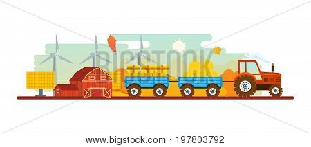 Agriculture and farming. Autumn agribusiness. Autumn rural landscape. Farm and farmland, village with gardens, greenery, harvest and grain, hay, organic products. Vector illustration isolated.
