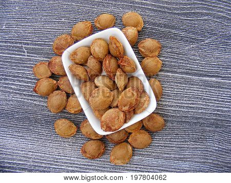 Apricot kernel pictures used in pharmaceutical production, natural apricot kernels,