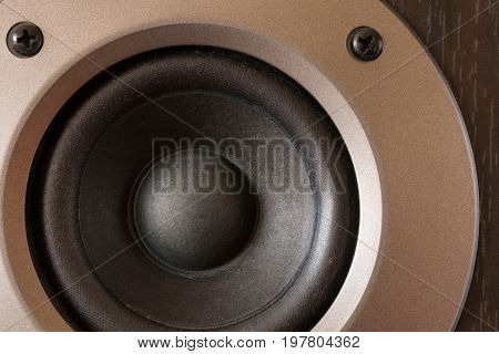 High-end stereo speakers and woofer . .