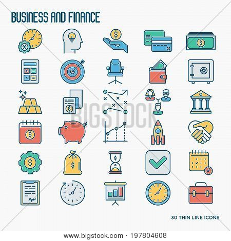 Business and finance thin line icons set related to financial strategy, planning, human thinking and start up. Vector illustration.