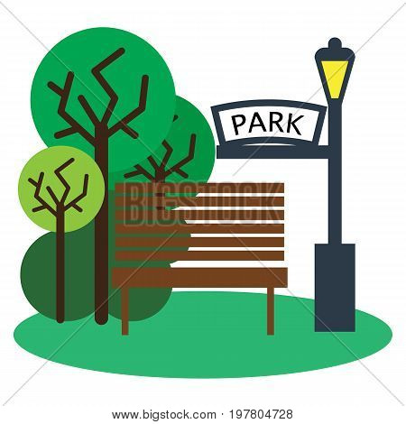 Park with bench and streetlight icon, vector illustration flat style design isolated on white. Colorful graphics