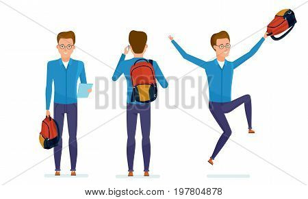 Set of character modern student. Education and training. Student prepares for classes, communicates on the phone, rejoices at his success in teaching. Vector illustration in cartoon style.
