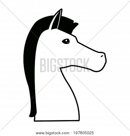 sign horse of chess piece game strategy vector illustration