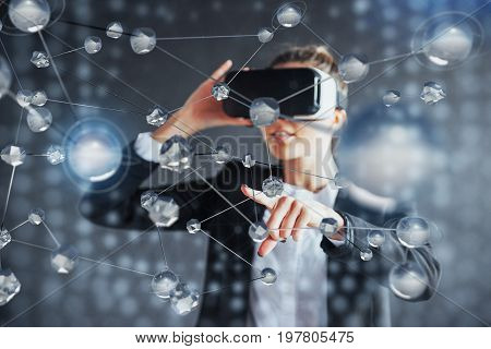 Virtual Reality, 3D-technologies, Cyberspace, Science And People Concept - Happy Woman In 3D Glasses