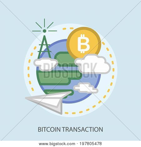 Bitcoin Transaction Conceptual Design   Great flat illustration concept icon and use for currencies, payment, business and much more