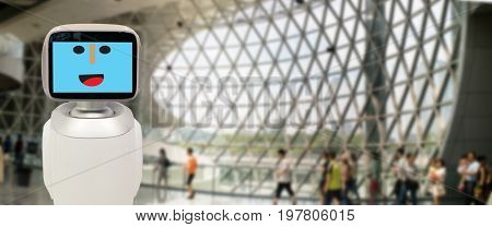 robotic advisor technology concept a futuristic robot advisor using in many industrial like transportation financial business engineering construction agriculture and etc