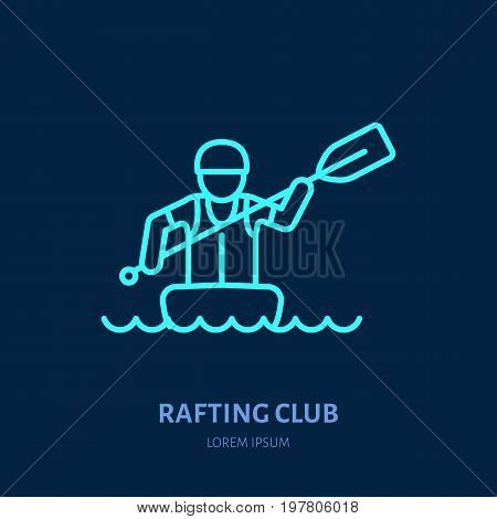 Rafting, kayaking flat line icon. Vector illustration of water sport - rafter with paddle in river raft. Linear sign, summer recreation pictogram for paddling gear store.