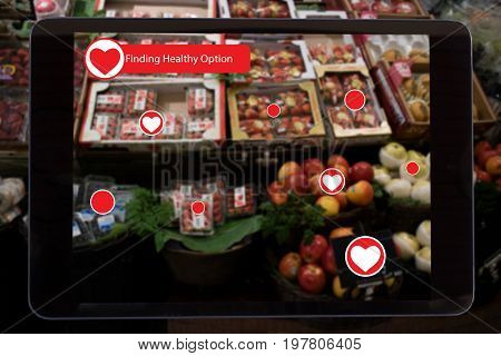 internet of things marketing conceptsa tablet show the data of the product which detect and lets customer know about healthy option to make a decision to buy it by use augmented reality technology