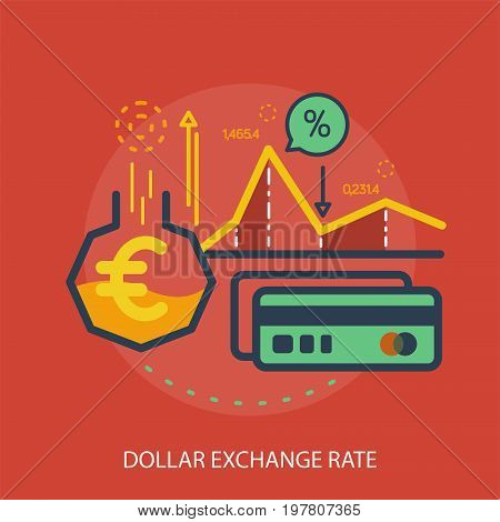 Euro Exchange Rate Conceptual Design | Great flat illustration concept icon and use for currencies, payment, business and much more