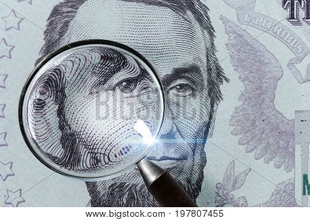5 Usd, Us Money Close Up Under Magnifying Glass