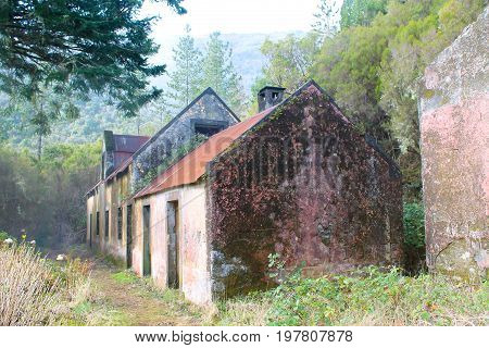 A deserted and faded house in the Madeira countryside
