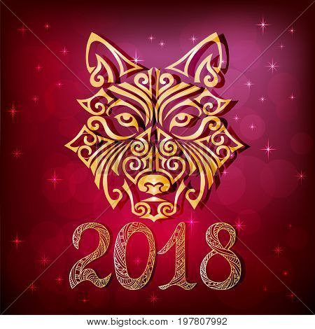 2018 New Year card with wolf or husky dog head stylized Maori face tattoo. Symbol of chinese 2018 New Year. Isolated on red background. Space Husky dog. Vector.