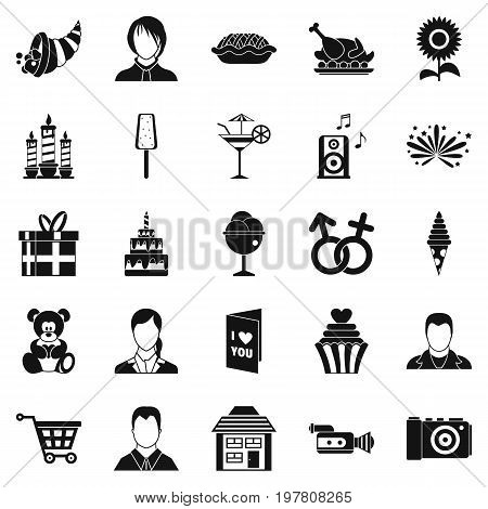 Family dinner icons set. Simple set of 25 family dinner vector icons for web isolated on white background
