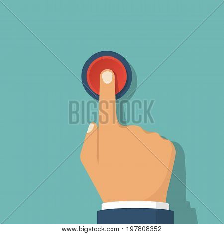Hand pressing red button. Push finger. Vector illustration flat design. Click button isolated on background. Beginning  action, concept.