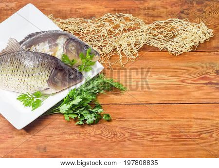 Fragment of the white square dish with common carp and mirror carp with peeled scales and prepared for cooking bunch of dill and parsley part of the fishing net on the old wooden planks