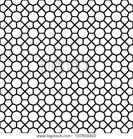 Black octagon shape pattern background. Seamless octagon vector pattern. Elements for design. All in a single layer. Vector illustration.