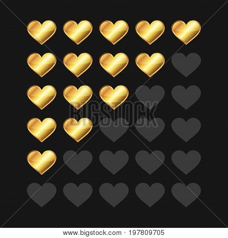 Golden Rating Hearts Panel Set. Vector illustration