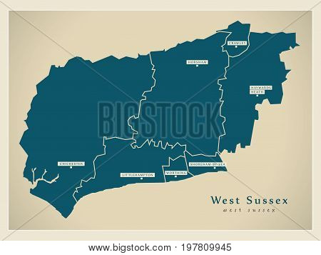 Modern Map - West Sussex County With Cities And Districts England Uk Illustration